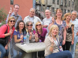 Group enjoying tastings on the East Village Walking Tour