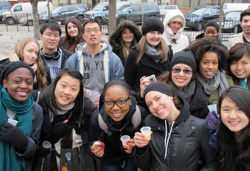 NYU Students enjoying a tour in Harlem