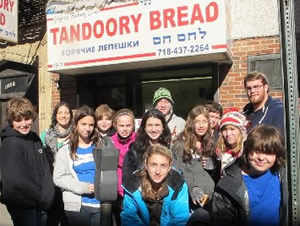 Hebrew school group from Philidelphia enjoying Borough Park